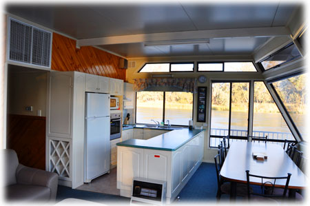 River Rat Houseboat Kitchen and Dining Area